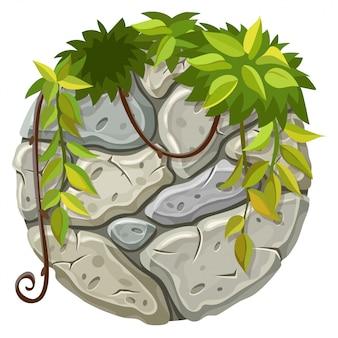 Panneau de pierre avec des branches de liane.