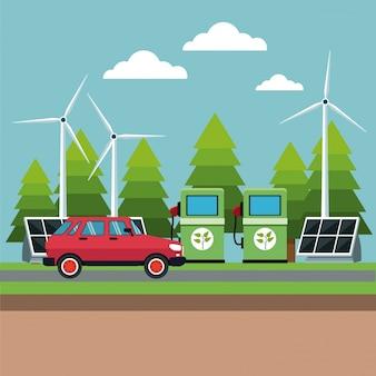 Panneau de pompe à essence turbine solaire vent énergie alternative