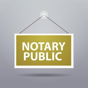 Panneau publicitaire porte suspendue notaire public bannière web concept de signature et de légalisation de documents