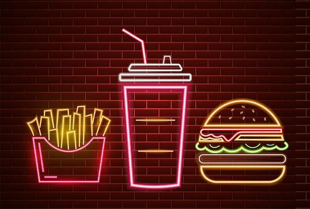 Panneau de restauration rapide déjeuner menu enseigne au néon