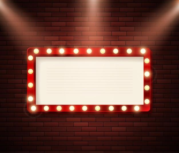Panneau rétro avec illustration de lumières