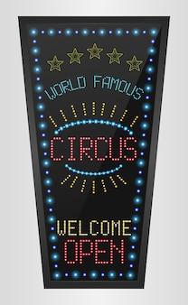 Panneau rétro avec des lumières bleues et le mot cirque