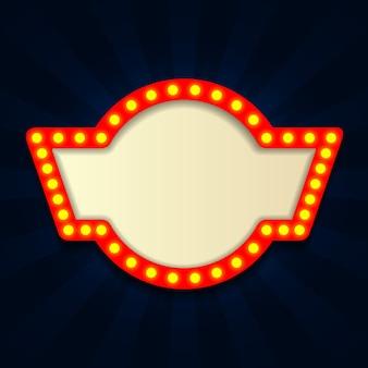 Panneau rétro rétro vintage, cinéma avec ampoule