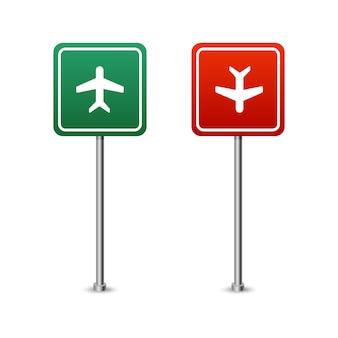 Panneau routier vert et rouge avec une planche d'avion. illustration vectorielle isolé sur fond blanc.