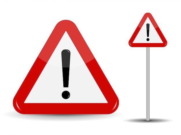 Panneau de signalisation d'avertissement triangle rouge avec point d'exclamation.