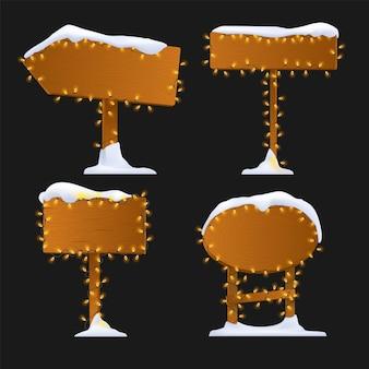 Panneau de signalisation bois hiver coloré de dessin animé avec lumière et neige.