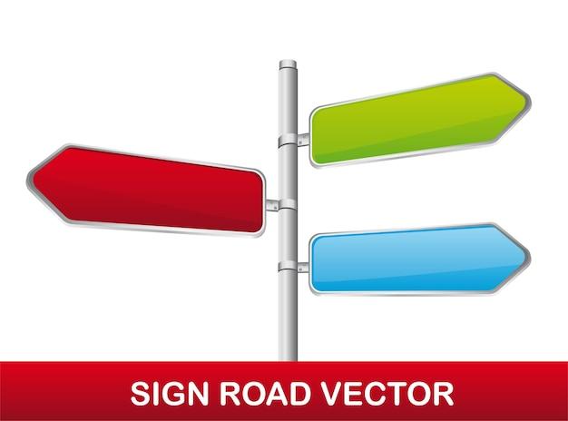 Panneau de signalisation coloré isolé sur fond blanc vecteur