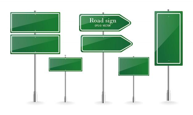 Panneau de signalisation de direction, panneaux de destination de route, panneaux de signalisation de rue et pointeur de panneau de direction vert. illustration vectorielle