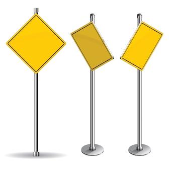 Panneau de signalisation jaune blanc sur fond blanc