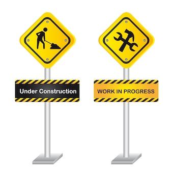 Panneau de signalisation jaune avec homme et outils illustration vectorielle