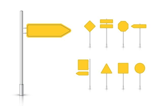 Panneau de signalisation jaune maquette isolé