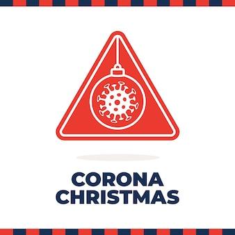 Panneau de signalisation de noël coronavirus. dessin animé plat boule de noël virus corona bactéries cellule dans les panneaux de signalisation de prudence. symbole d'avertissement du coronavirus