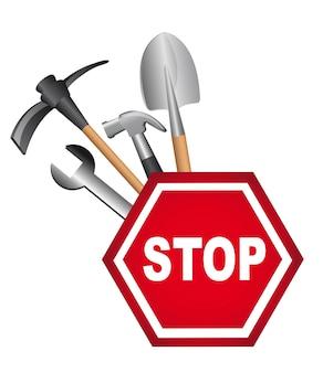 Panneau de signalisation avec des outils isolé sur fond blanc vecteur