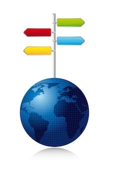 Panneau de signalisation sur la planète sur l'illustration vectorielle fond blanc