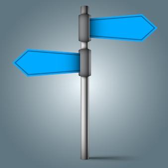 Panneau de signalisation - quatre flèches bleues.