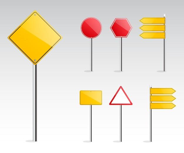 Panneau de signalisation réaliste set vector.