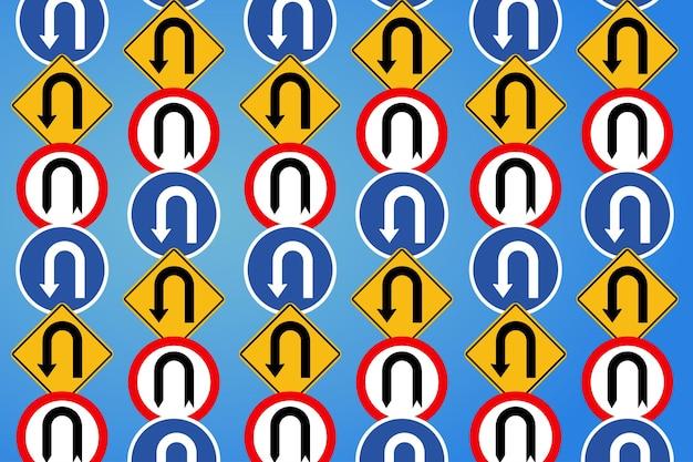 Panneau de signalisation routière multiple dans différentes formes papier peint illustration