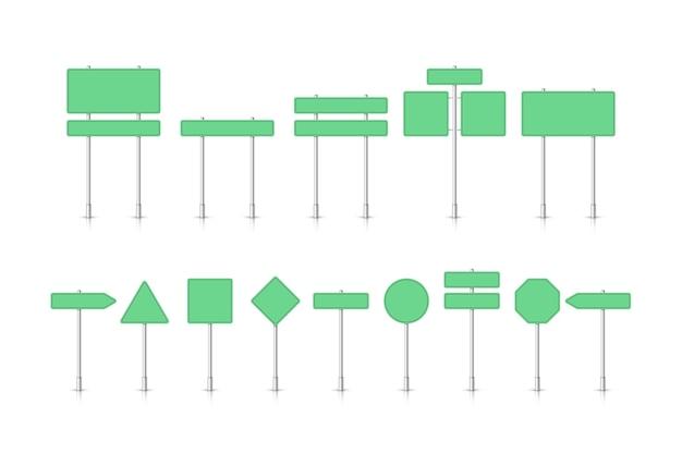 Panneau de signalisation vert maquette isolé sur fond blanc