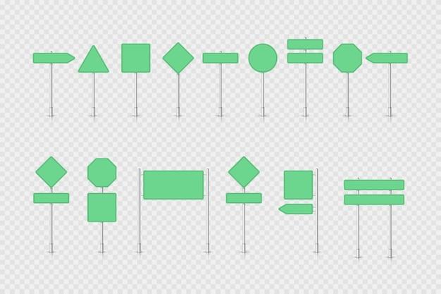 Panneau de signalisation vert maquette isolé
