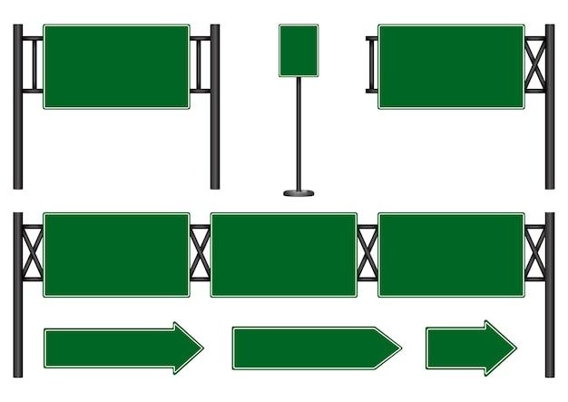 Panneau de signalisation vierge vert route isolé