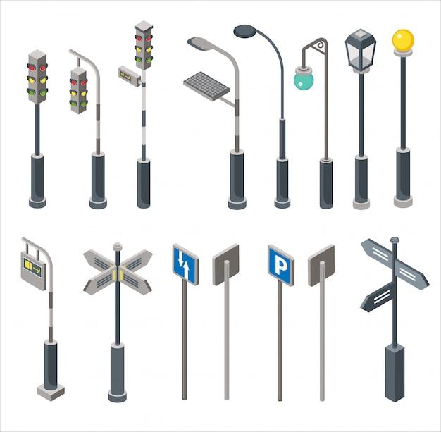 Panneau de signalisation de ville isométrique de haute qualité et jeu de lumières isolé