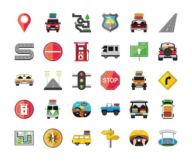 Panneau de signalisation de voitures de dessin animé de voyage