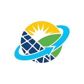 Panneau solaire énergie électrique électricité logo design vecteur