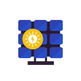 Panneau solaire, icône dans un style plat