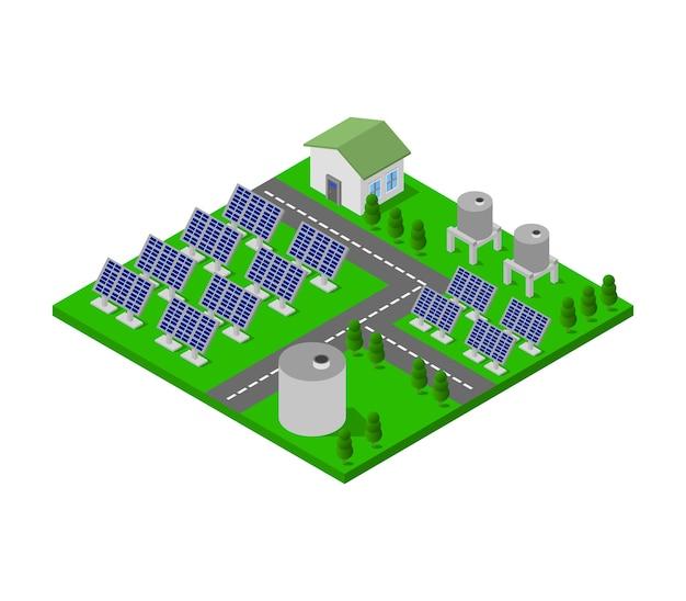 Panneau solaire isométrique