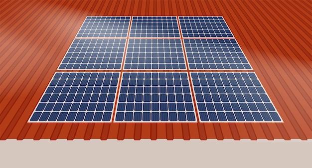 Panneau solaire sur le toit d'une maison, concept de ressources durables, conception d'illustration vectorielle.