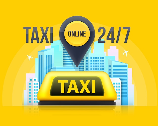 Panneau de toit de voiture de service de taxi jaune dans la rue.