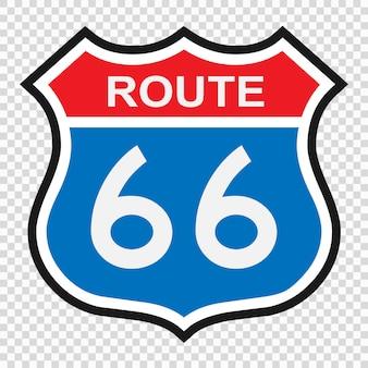 Panneau us 66, panneau de bouclier avec numéro de route