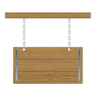 Panneau de vecteur en bois rétro avec des chaînes de fer