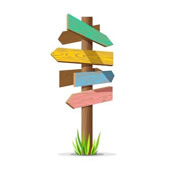 Panneau vide de flèche en bois colorée