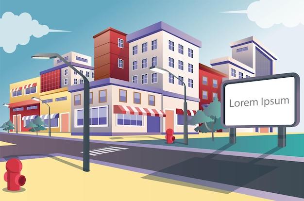 Panneaux d'affichage de concept d'illustration plate isométrique à un carrefour avec plusieurs maisons de magasin