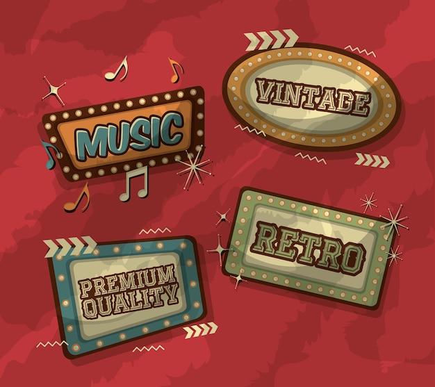 Panneaux d'affichage avec la musique de style léger rétro vintage