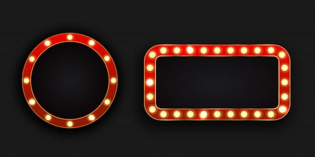 Panneaux d'affichage néon rétro réalistes sur le fond sombre. modèle de décoration vintage et enseigne.