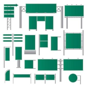 Panneaux d'affichage verts réalistes. signalisation routière à plat. publicité vierge. bannières vides. illustration vectorielle.