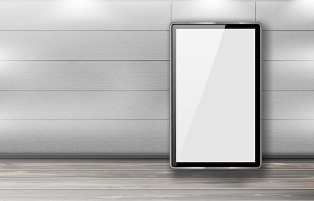 Des panneaux d'affichage vierges se tiennent en ligne dans le couloir du bureau