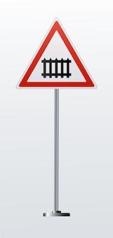 Panneaux d'avertissement de chemin de fer détaillés isolés