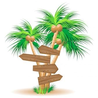 Panneaux en bois sur les palmiers