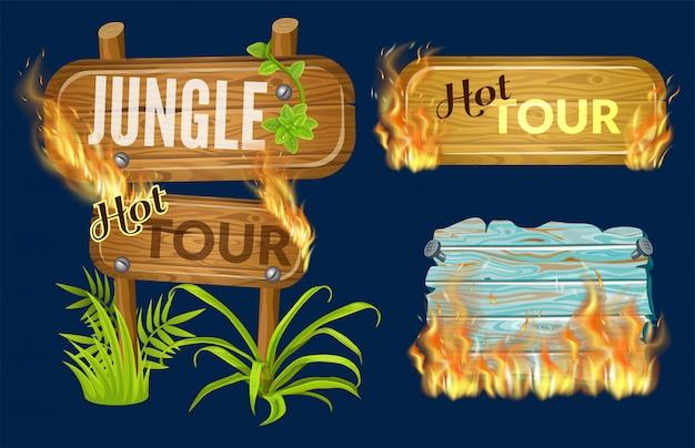 Panneaux en bois de vente avec flamme brûlée