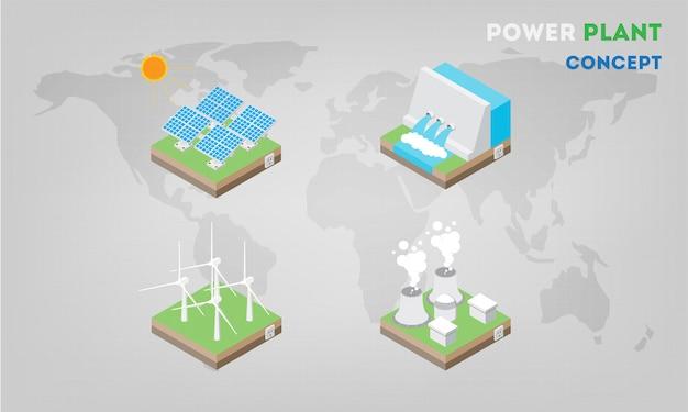 Panneaux de centrales électriques isométriques à plat. l'énergie alternative moderne