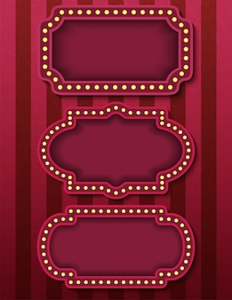 Panneaux de cirque. enseignes au néon de cinéma rétro brillantes. soirée spectacle de style cirque.