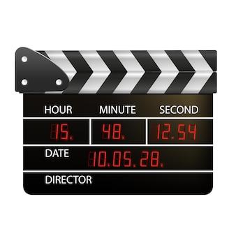 Panneaux de claquettes de film isolés sur fond blanc film clapper cinéma vecteur film clapper bo...
