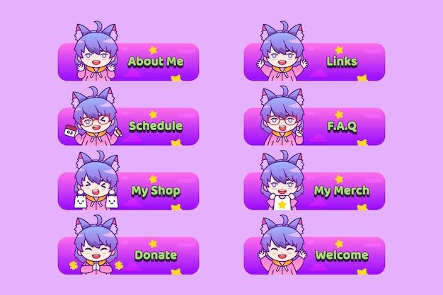 Panneaux de contraction d'anime avec des personnages