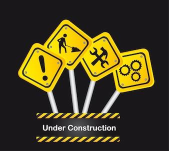 Panneaux de signalisation sur fond noir sous vecteur de construction