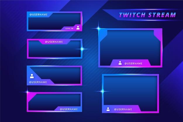 Panneaux de flux twitch dégradé bleu et violet