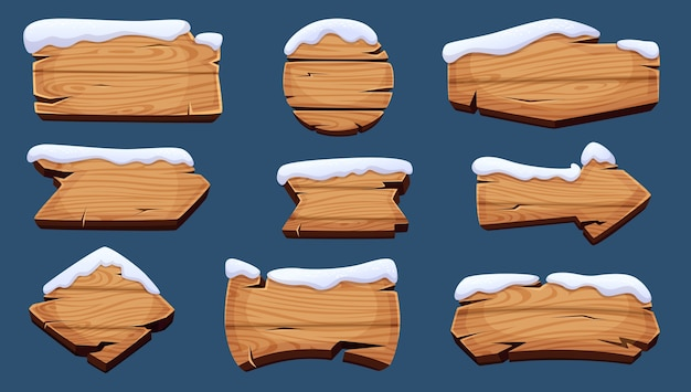 Panneaux d'hiver. bannières de saison en bois avec bonnet de neige
