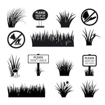 Panneaux de jardin ou de parc. ne gâchez pas les icônes de silhouettes d'herbe, de prairies et de pelouses. illustration vectorielle